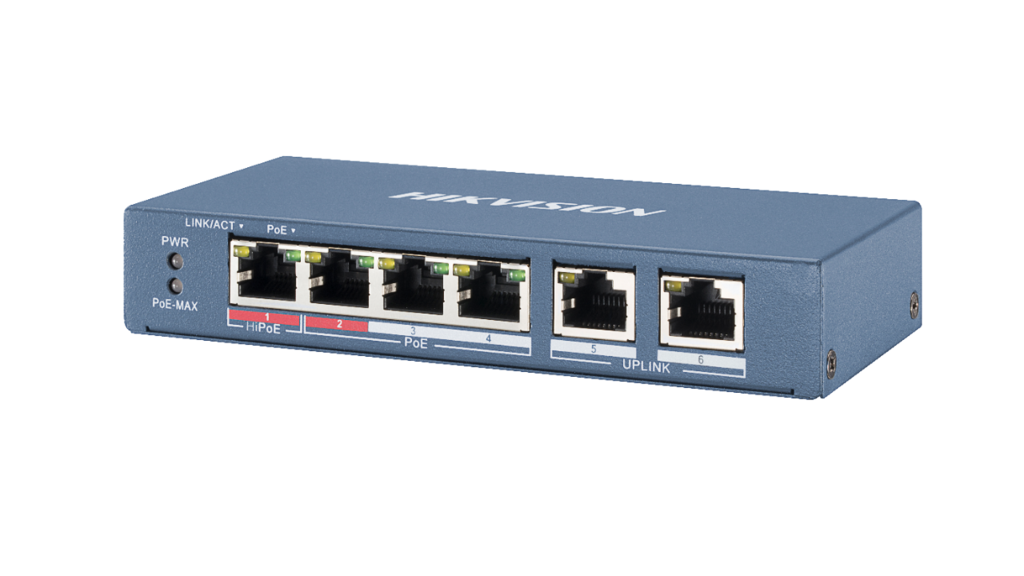 - Full duplex 10//100 Fast Ethernet PoE Power over Ethernet Unmanaged Hikvision DS-3E0106HP-E