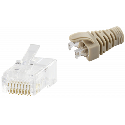 RJ45 CAT5e UNSHIELDED EASY CONNECTOR+GREY BOOT - 50-PACK