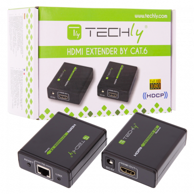 TECHLY 1080P HDMI EXTENDER OVER CAT 6 - UP TO 60m