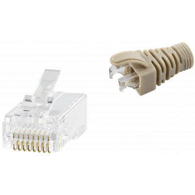 RJ45 CAT6 UNSHIELDED EASY CONNECTOR+GREY BOOT - 50-PACK