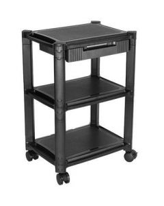 TECHLY HEIGHT-ADJUSTABLE SMART CART WITH 3 SHELVES/1 DRAWER