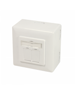 CAT6A WALL OUTLET 2x RJ45 - SHIELDED W. BACKBOX WHITE
