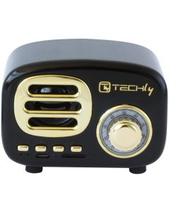 TECHLY BLUETOOTH WIRELESS SPEAKER CLASSIC RADIO DESIGN - BLACK