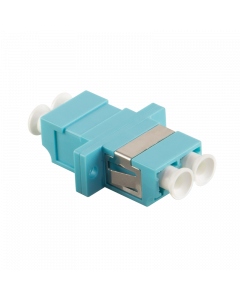 FIBRE ADAPTER/COUPLER LC DUPLEX MM, AQUA, WITH FLANGE