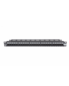 "BKT 19"" PATCH PANEL ISDN 25xRJ45 1U BLACK+ORGANIZER"