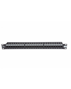 "BKT 19"" PATCH PANEL 24xRJ45 UNSHIELDED CAT5e 1U BLACK"