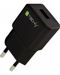 TECHLY PLUG ADAPTER WITH 1 USB PORT 5V / 2.1A BLACK