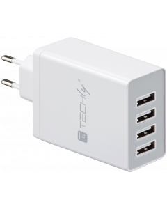 TECHLY WHITE POWER CHARGER WITH 4 SLOTS, 8200mA