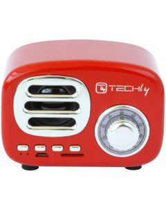 TECHLY BLUETOOTH WIRELESS SPEAKER CLASSIC RADIO DESIGN - RED