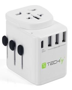 TRAVEL ADAPTER WITH 3x USB 10A WHITE