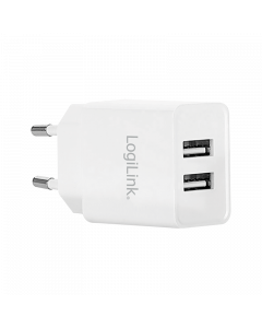 LOGILINK USB WALL CHARGER, 2 PORT 10.5W, WHITE