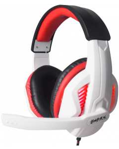GAMMEC SHARK GAMING HEADSET WITH RED BACKLIGHT - WHITE/BLACK