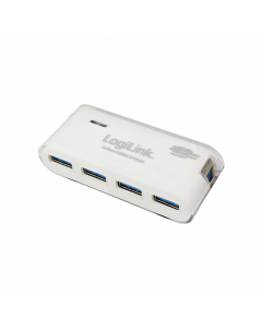LOGILINK USB 3.0 HUB 4-PORT, INCL. 3,5A POWER SUPPLY, WHITE