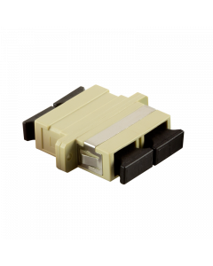 FIBRE ADAPTER/COUPLER SC DUPLEX MM, BEIGE, WITH FLANGE