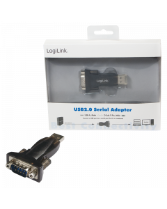 LOGILINK USB 2.0 TO SERIAL ADAPTER BLACK DESIGN - DB9 - W10