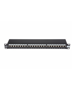 "BKT 19"" PATCH PANEL 24xRJ45 SHIELDED CAT6 1U BLACK+ORGANIZER"
