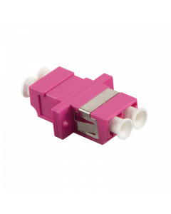 FIBRE ADAPTER/COUPLER LC DUPLEX MM, VIOLET, WITH FLANGE
