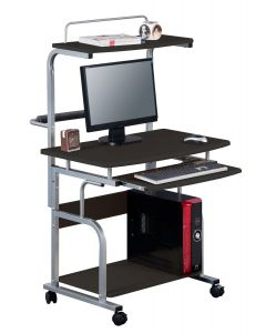 TECHLY COMPACT MULTI-FUNCTION COMPUTER DESK, GLOSSY BLACK