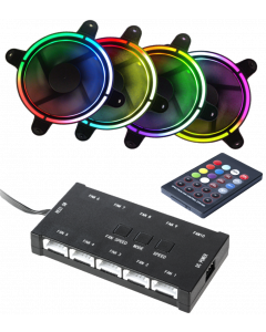 CTESPORTS FAN SET: 4 RAINBOW FANS, CONTROLLER FOR UP TO 10 FANS - 12CM