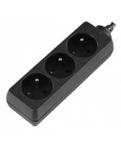 LOGON 3-WAY POWER STRIP: BLACK - 16A - 1.5M CABLE