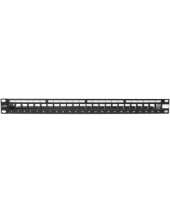 "BKT 19"" PATCH PANEL UNEQUIPPED 24xRJ45 SHIELDED WITH EXTRA LABELS"