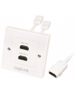 LOGILINK HDMI ADAPTER FEMALE TO 2X FEMALE WHITE WALL PLATE