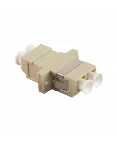 FIBRE ADAPTER/COUPLER LC DUPLEX MM, BEIGE, WITH FLANGE