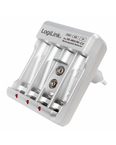 LOGILINK BATTERY CHARGER, 4X AA OR 4X AAA AND 1X 9V BATTERY