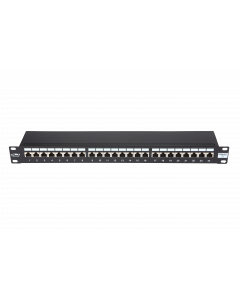 "BKT 19"" PATCH PANEL 24xRJ45 SHIELDED CAT5e 1U BLACK"