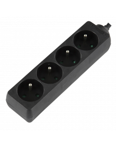 LOGON 4-WAY POWER STRIP: BLACK  - 16A - 1.5M CABLE