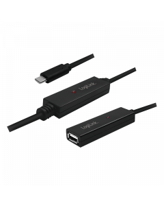 LOGILINK USB 2.0 ACTIVE REPEATER CABLE, USB-C M TO USB AF, 15m