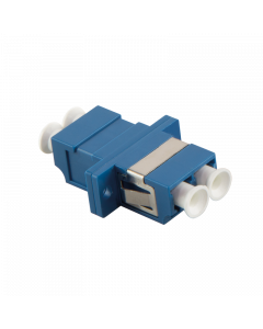 FIBRE ADAPTER/COUPLER LC DUPLEX MM, BLUE, WITH FLANGE