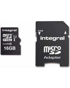 INTEGRAL MICROSDHC/XC CARD CLASS 10 WITH ADAPTOR 16GB