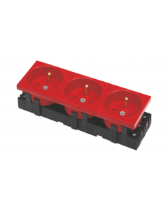 BKT 3-PORT ELECTRICAL SOCKET - DATA RED