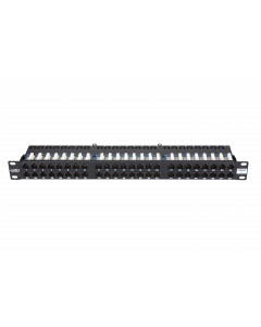 "BKT 19"" PATCH PANEL 48xRJ45 UNSHIELDED CAT5e 1U BLACK"