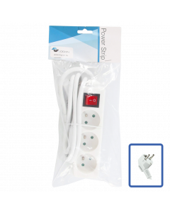 LOGON 3-WAY POWER STRIP: WHITE - ON/OFF SWITCH - 1.5M CABLE