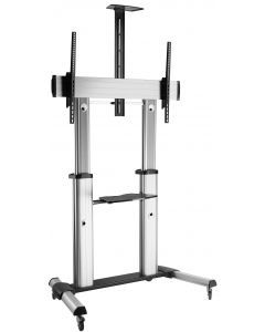 TECHLY SILVER LCD/LED TROLLEY STAND WITH SHELF 60-100""