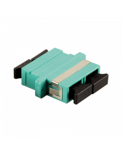 FIBRE ADAPTER/COUPLER SC DUPLEX MM, AQUA, WITH FLANGE