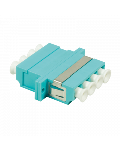 FIBRE ADAPTER/COUPLER LC QUAD MM, AQUA, WITH FLANGE