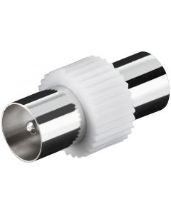 TV COAXIAL ADAPTOR 9.5MM MALE/FEMALE -  PLASTIC HOUSING