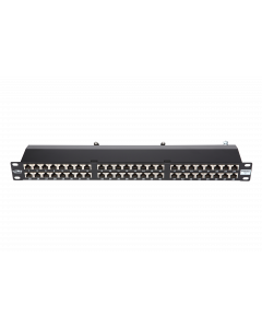 "BKT 19"" PATCH PANEL 48xRJ45 SHIELDED CAT6 1U BLACK+ORGANIZER"