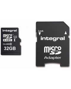 INTEGRAL MICROSDHC/XC CARD CLASS 10 WITH ADAPTOR 32GB
