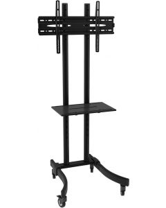 TECHLY BLACK LCD/LED TROLLEY STAND WITH SHELF 32-70""