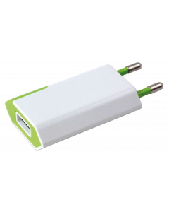 TECHLY POWER ADAPTER SLIM USB 5V 1A WHITE/GREEN