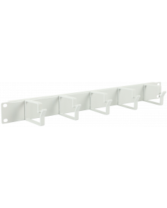 "LOGON 1U 19"" CABLE ORGANIZER PANEL, 5 HOOK WHITE"