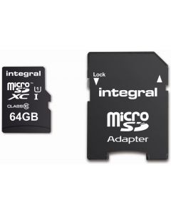 INTEGRAL MICROSDHC/XC CARD CLASS 10 WITH ADAPTOR 64GB